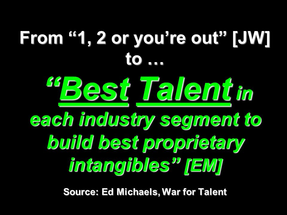 From 1, 2 or youre out [JW] to …Best Talent in each industry segment to build best proprietary intangibles [EM] Source: Ed Michaels, War for Talent
