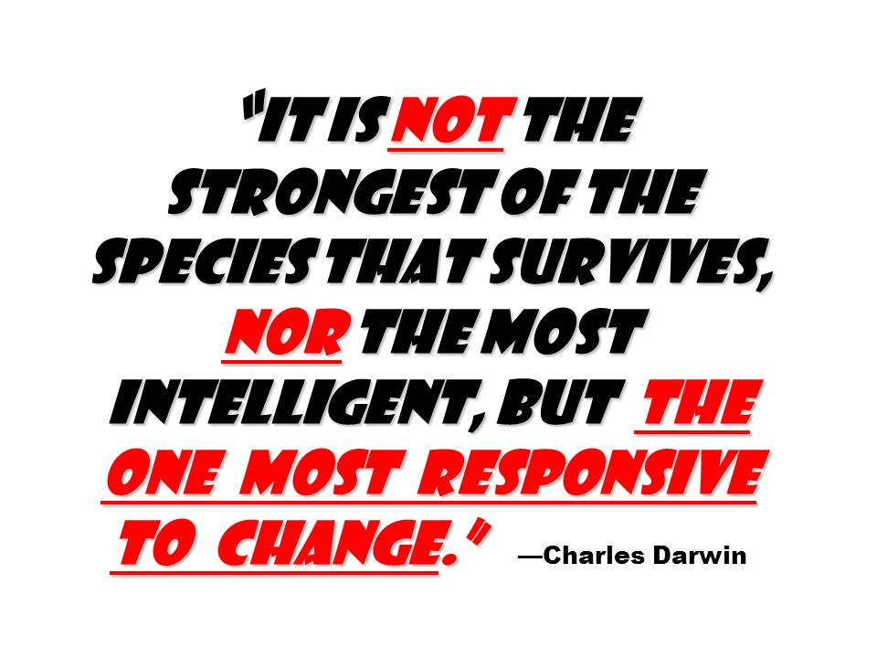 It is not the strongest of the species that survives, nor the most intelligent, but the one most responsive to change. It is not the strongest of the