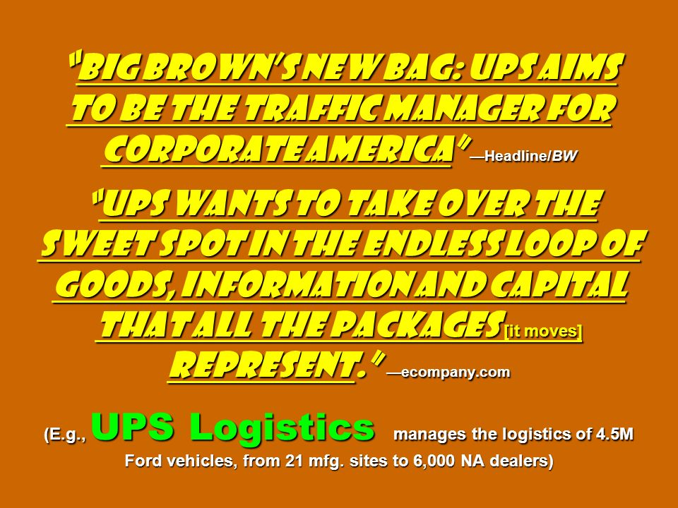 Big Browns New Bag: UPS Aims to Be the Traffic Manager for Corporate America Headline/BWUPS wants to take over the sweet spot in the endless loop of g