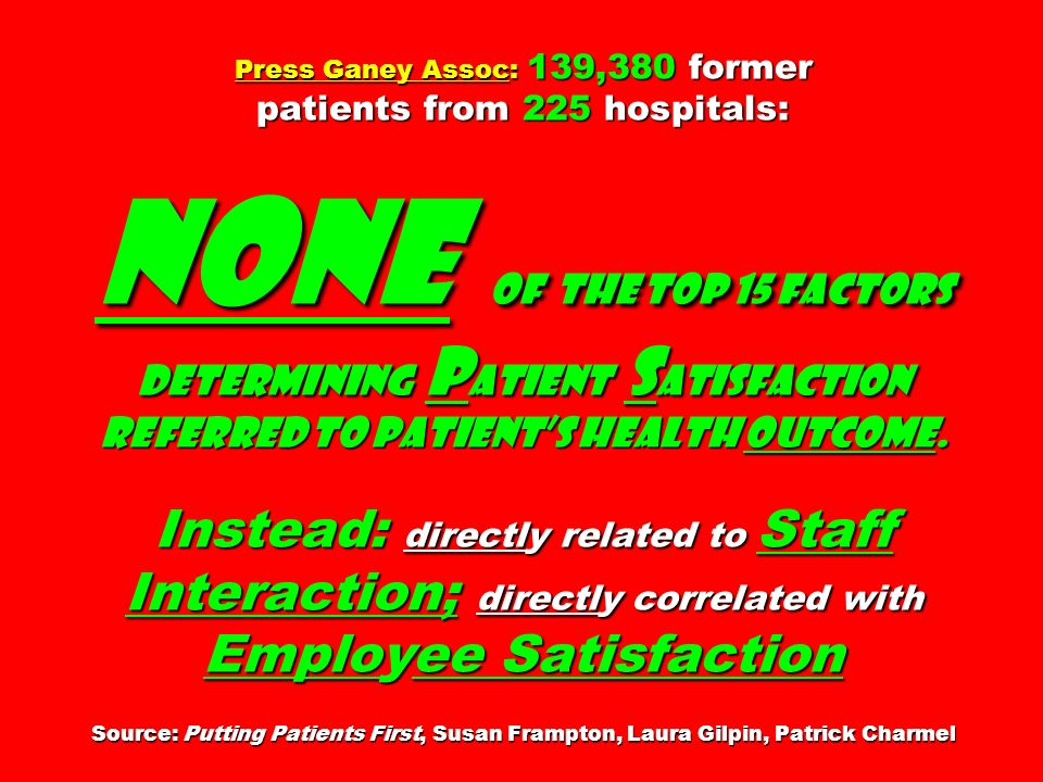 Press Ganey Assoc: 139,380 former patients from 225 hospitals: none of THE top 15 factors determining P atient S atisfaction referred to patients heal