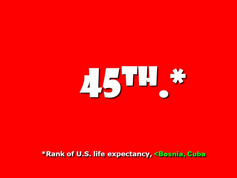 45 th.* *Rank of U.S. life expectancy, <Bosnia, Cuba 45 th.* *Rank of U.S.
