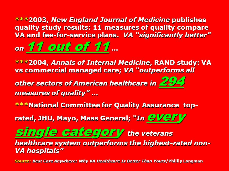 ***2003, New England Journal of Medicine publishes quality study results: 11 measures of quality compare VA and fee-for-service plans. VA significantl