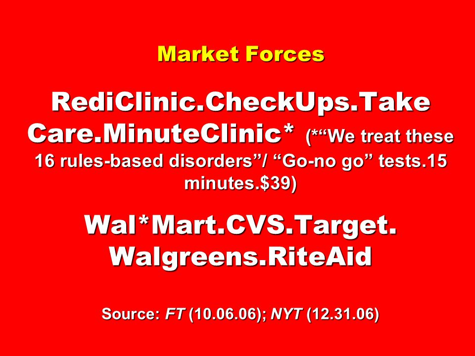 Market Forces RediClinic.CheckUps.Take Care.MinuteClinic* (*We treat these 16 rules-based disorders/ Go-no go tests.15 minutes.$39) Wal*Mart.CVS.Targe
