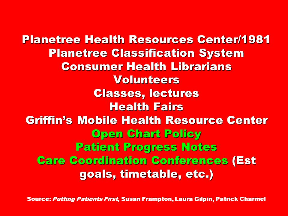Planetree Health Resources Center/1981 Planetree Classification System Consumer Health Librarians Volunteers Classes, lectures Health Fairs Griffins M