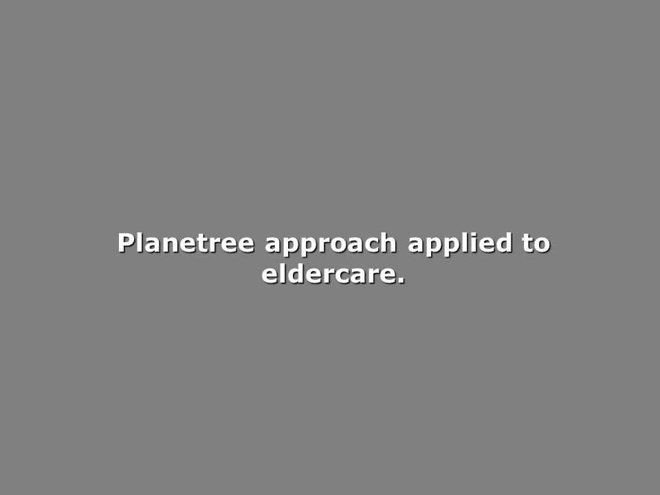 Planetree approach applied to eldercare.