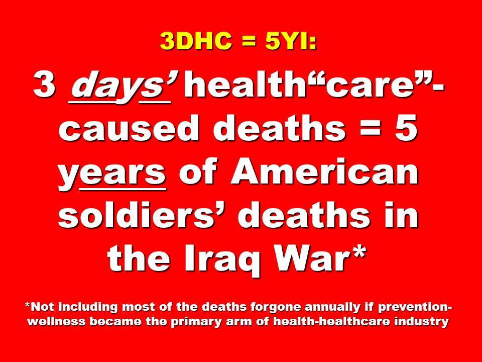 3DHC = 5YI: 3 days healthcare- caused deaths = 5 years of American soldiers deaths in the Iraq War* *Not including most of the deaths forgone annually if prevention- wellness became the primary arm of health-healthcare industry