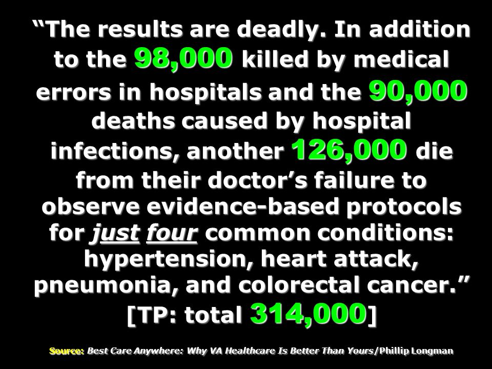 The results are deadly. In addition to the 98,000 killed by medical errors in hospitals and the 90,000 deaths caused by hospital infections, another 1