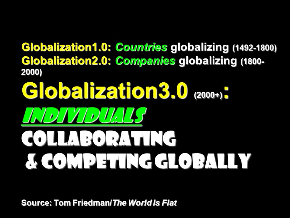 Globalization1.0: Countries globalizing (1492-1800) Globalization2.0: Companies globalizing (1800- 2000) Globalization3.0 (2000+) : Individuals collab