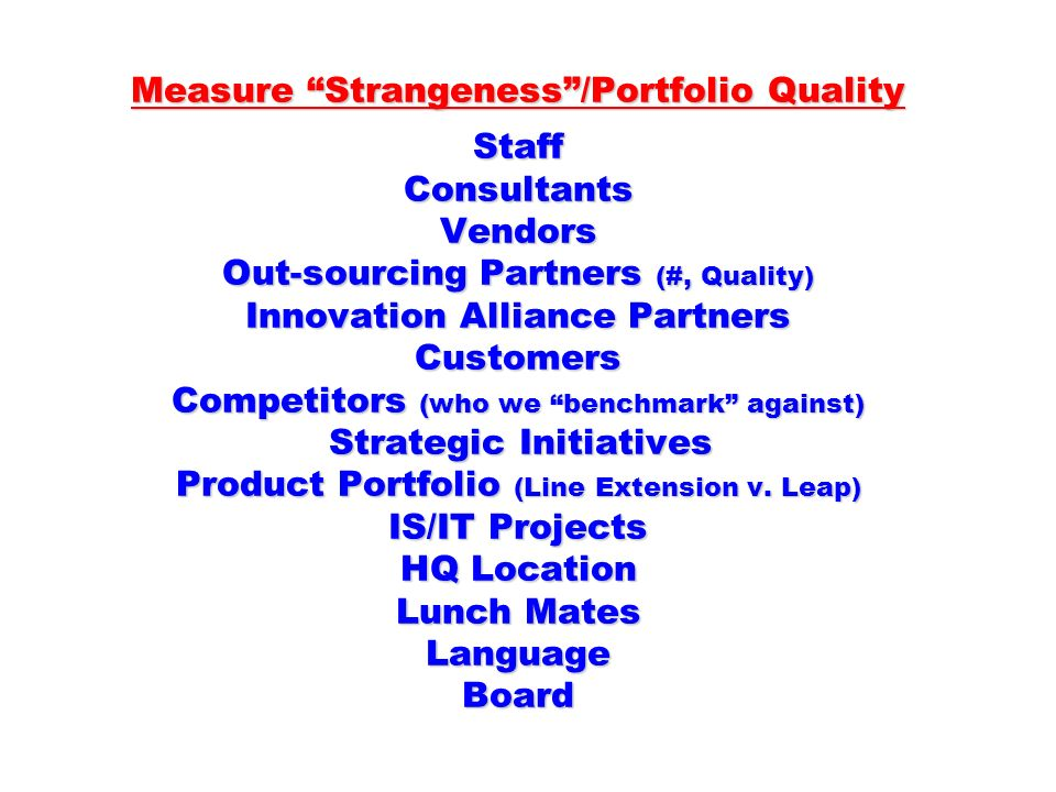 Measure Strangeness/Portfolio Quality Staff Consultants Vendors Out-sourcing Partners (#, Quality) Innovation Alliance Partners Customers Competitors (who we benchmark against) Strategic Initiatives Product Portfolio (Line Extension v.
