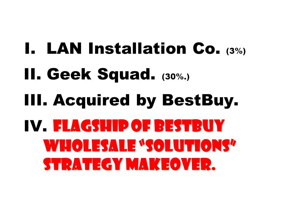 Flagship of BestBuy Wholesale Solutions Strategy Makeover. I. LAN Installation Co. (3%) II. Geek Squad. (30%.) III. Acquired by BestBuy. IV. Flagship