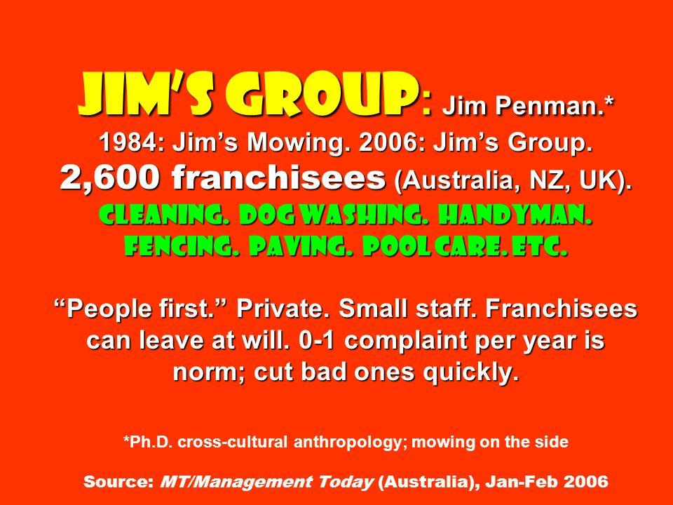 Jims Group : Jim Penman.* 1984: Jims Mowing. 2006: Jims Group.