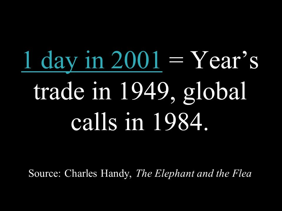 1 day in 2001 = Years trade in 1949, global calls in 1984. Source: Charles Handy, The Elephant and the Flea