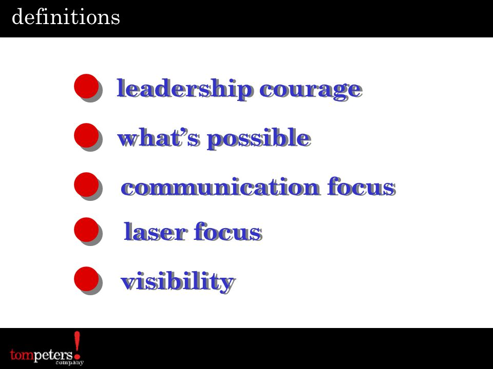 definitions leadership courage Boldly lead your team See it, own it, solve it, do it Deliver good and bad news, up & down Resolve conflict – build clean relationships Do whats right, stand alone when necessary Support the organizations strategic intent Boldly lead your team See it, own it, solve it, do it Deliver good and bad news, up & down Resolve conflict – build clean relationships Do whats right, stand alone when necessary Support the organizations strategic intent