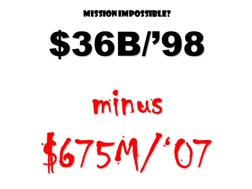 Mission impossible $36B/98 minus $675M/07