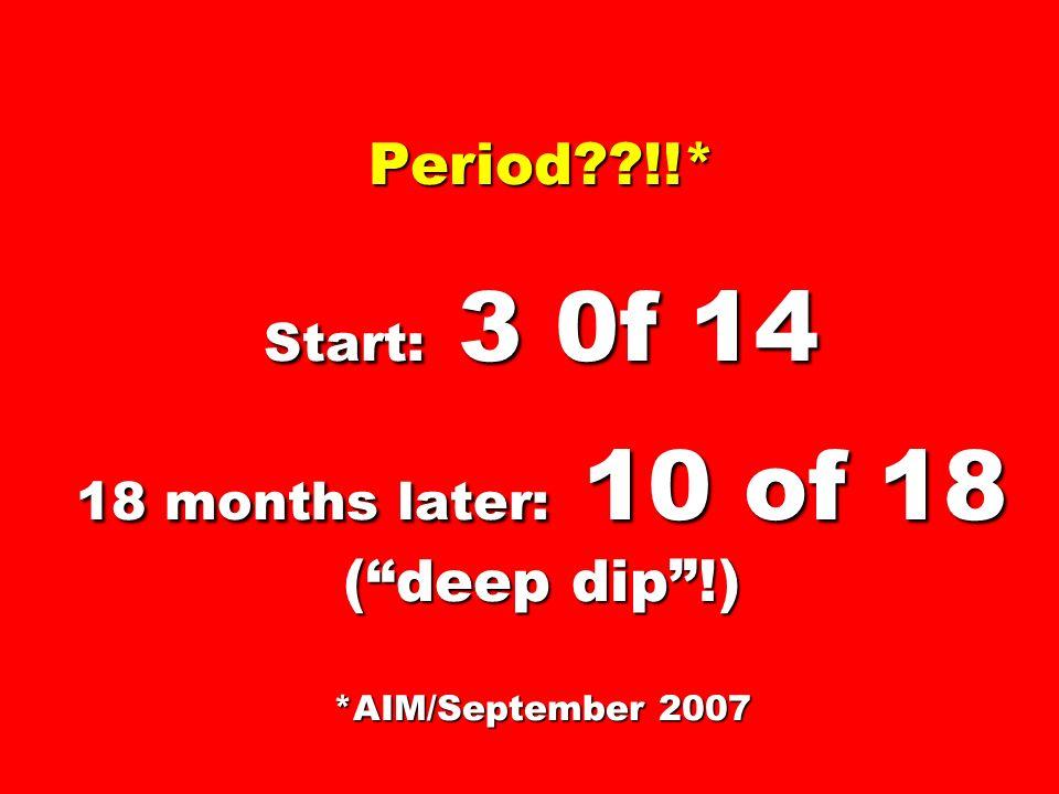 Period??!!* Start: 3 0f 14 18 months later: 10 of 18 (deep dip!) *AIM/September 2007