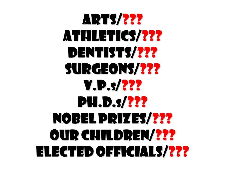 Arts/??? Athletics/??? Dentists/??? Surgeons/??? V.P. s /??? Ph.D. s /??? Nobel Prizes/??? Our children/??? Elected officials/???