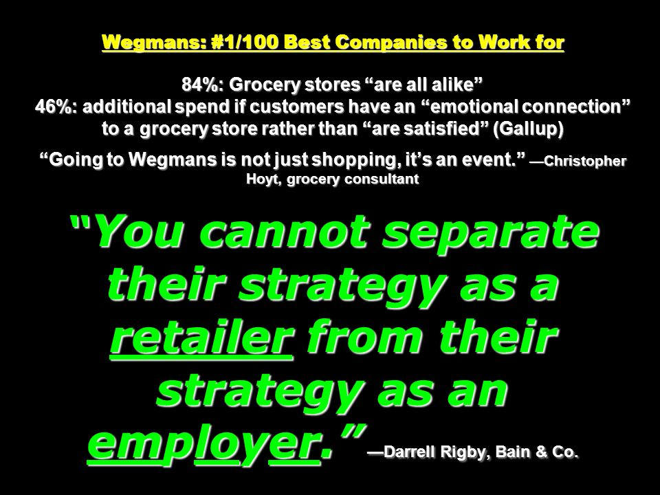 Wegmans: #1/100 Best Companies to Work for 84%: Grocery stores are all alike 46%: additional spend if customers have an emotional connection to a groc