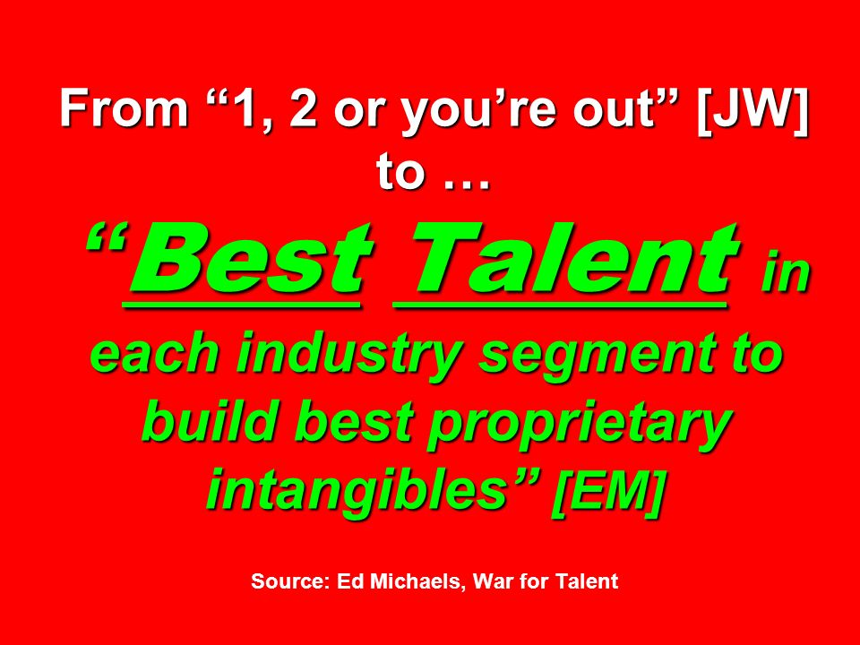 From 1, 2 or youre out [JW] to … Best Talent in each industry segment to build best proprietary intangibles [EM] From 1, 2 or youre out [JW] to … Best