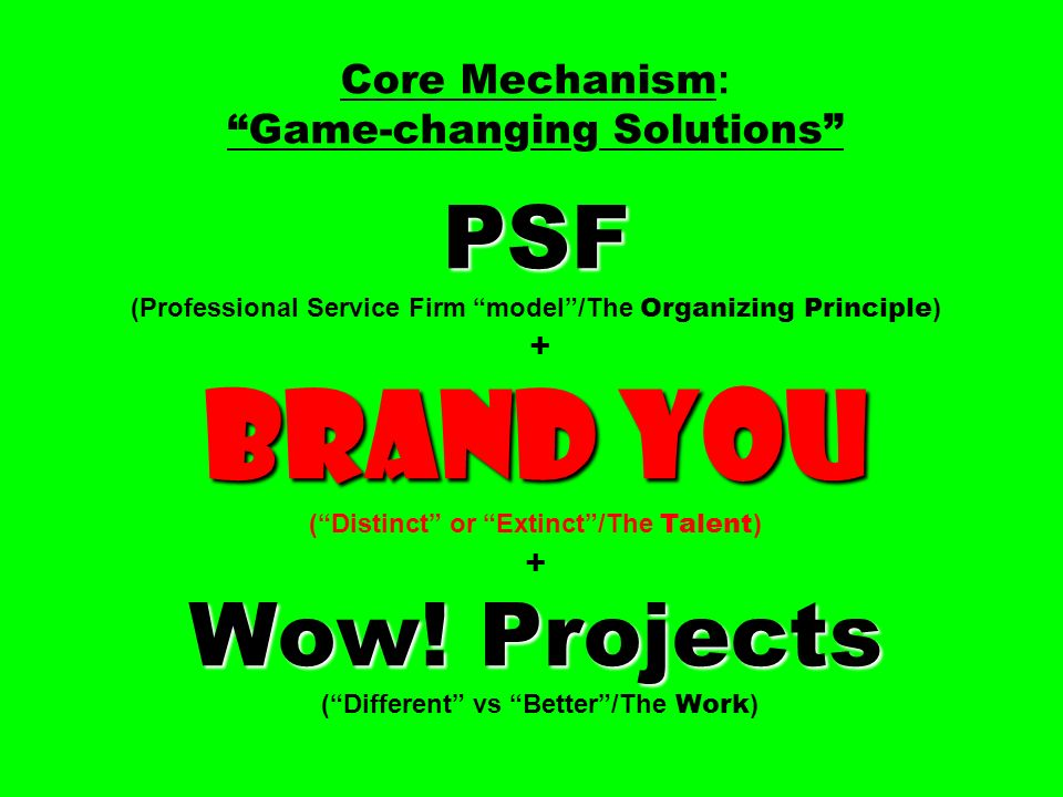 PSF Brand You Wow! Projects Core Mechanism : Game-changing Solutions PSF (Professional Service Firm model/The Organizing Principle ) + Brand You (Dist