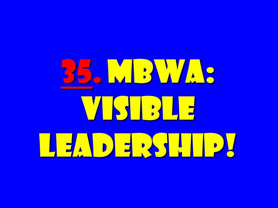 35. MBWA: Visible Leadership!