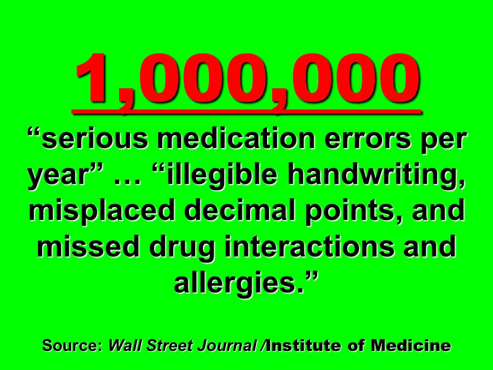 1,000,000 serious medication errors per year … illegible handwriting, misplaced decimal points, and missed drug interactions and allergies. Source: Wa