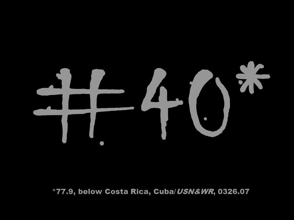 #40* *77.9, below Costa Rica, Cuba/USN&WR, 0326.07