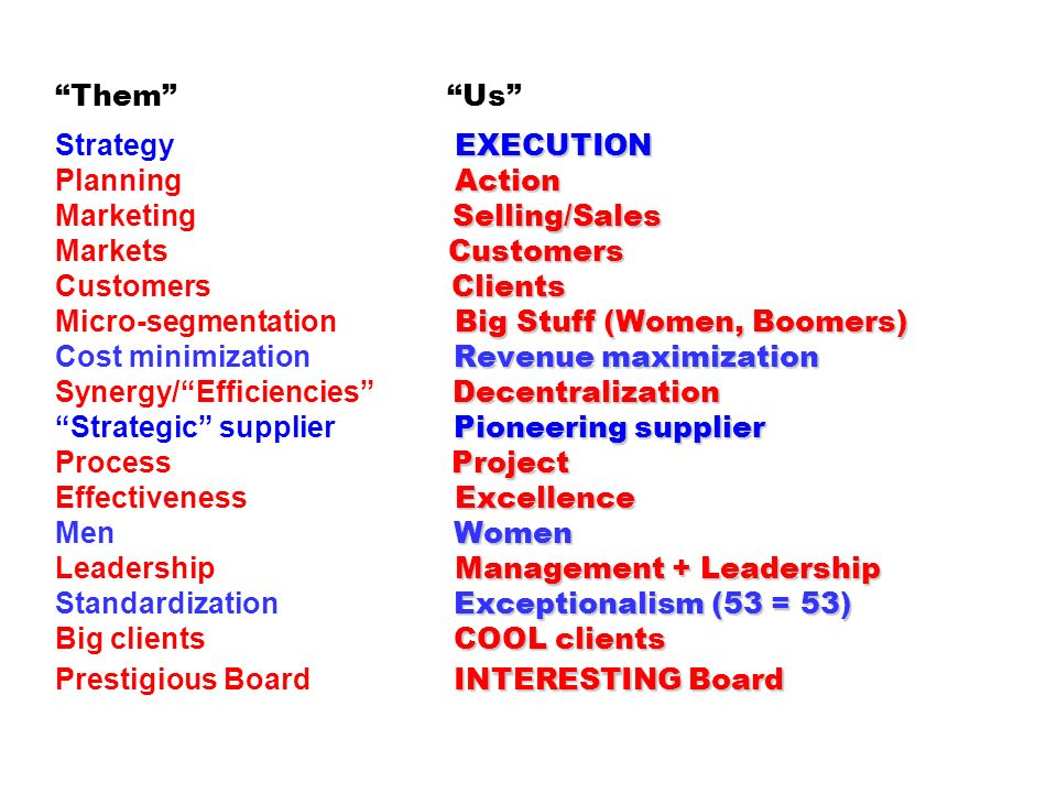 EXECUTION Action Selling/Sales Customers Clients Big Stuff (Women, Boomers) Revenue maximization Decentralization Pioneering supplier Project Excellen