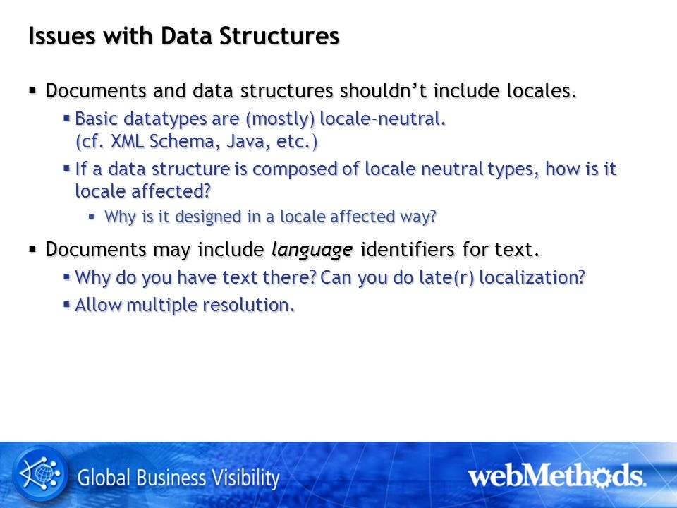 Issues with Data Structures Documents and data structures shouldnt include locales.