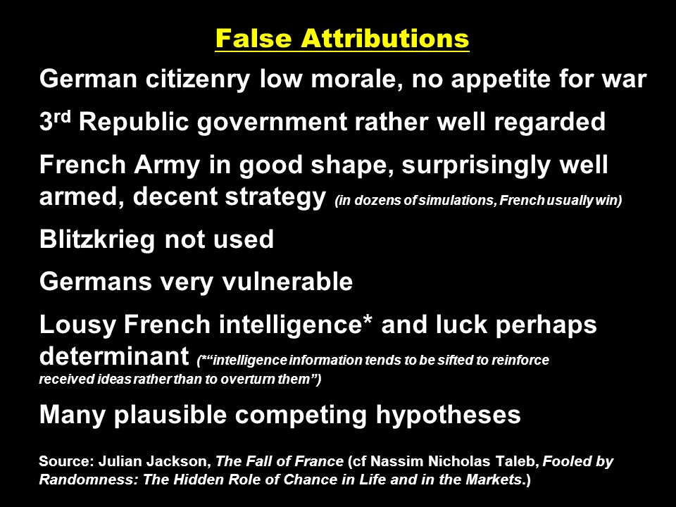 False Attributions German citizenry low morale, no appetite for war 3 rd Republic government rather well regarded French Army in good shape, surprisin