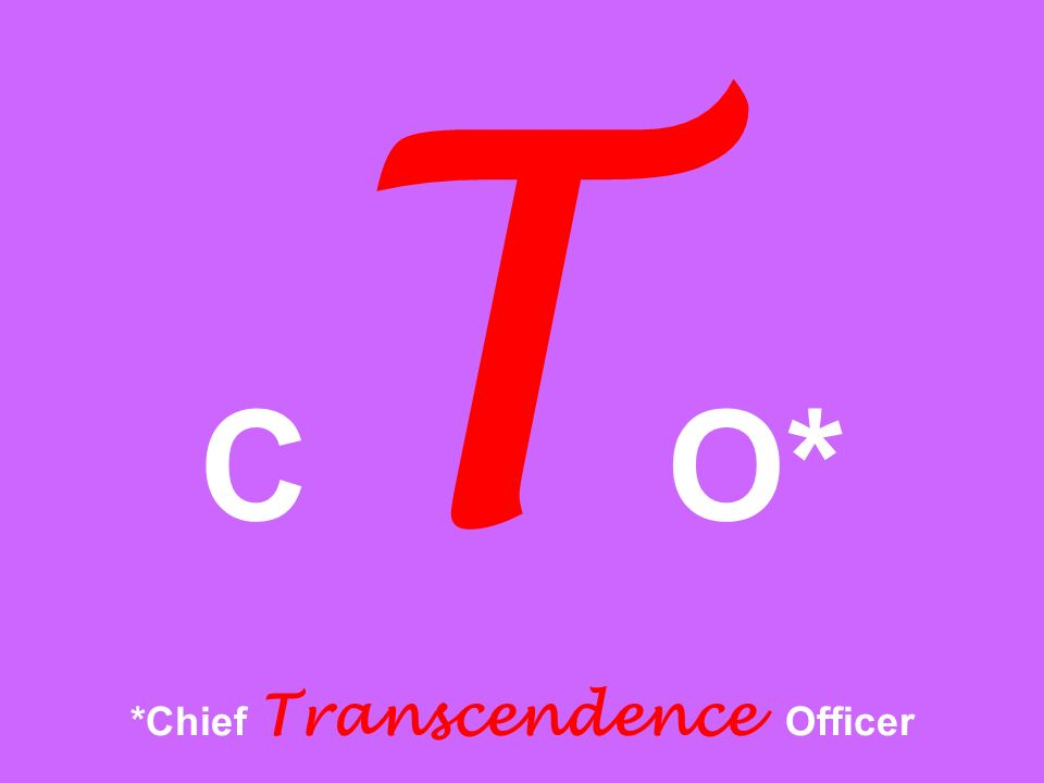C T O* *Chief Transcendence Officer