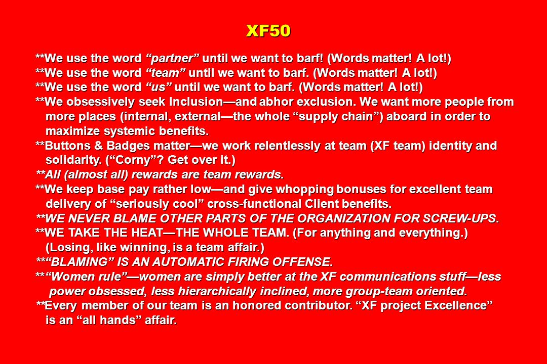 XF50 XF50 **We use the word partner until we want to barf.