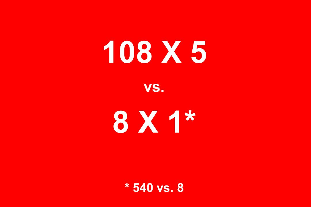 108 X 5 vs. 8 X 1* * 540 vs. 8