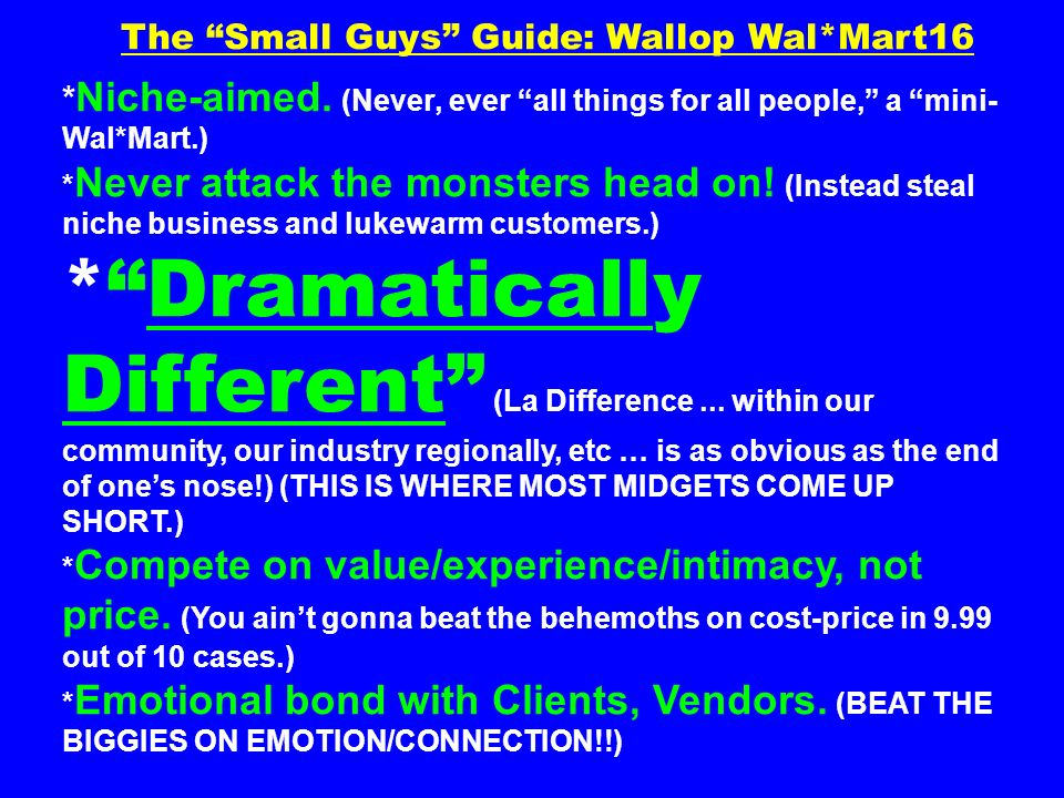 The Small Guys Guide: Wallop Wal*Mart16 * Niche-aimed. (Never, ever all things for all people, a mini- Wal*Mart.) * Never attack the monsters head on!