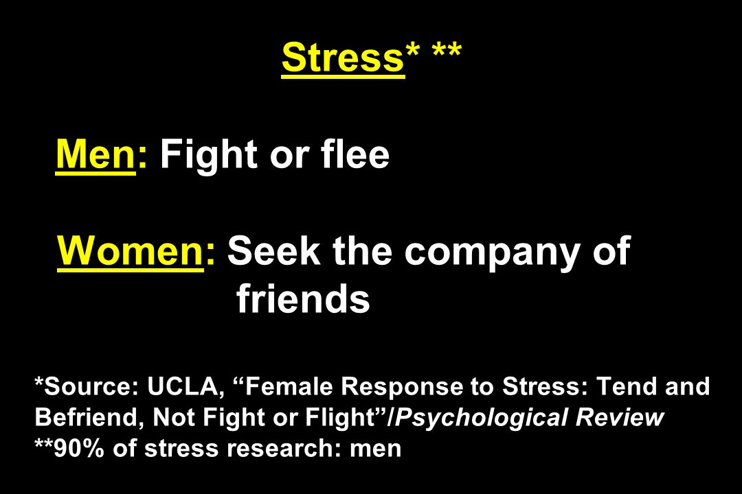 Stress* ** Men: Fight or flee Women: Seek the company of friends *Source: UCLA, Female Response to Stress: Tend and Befriend, Not Fight or Flight/Psychological Review **90% of stress research: men