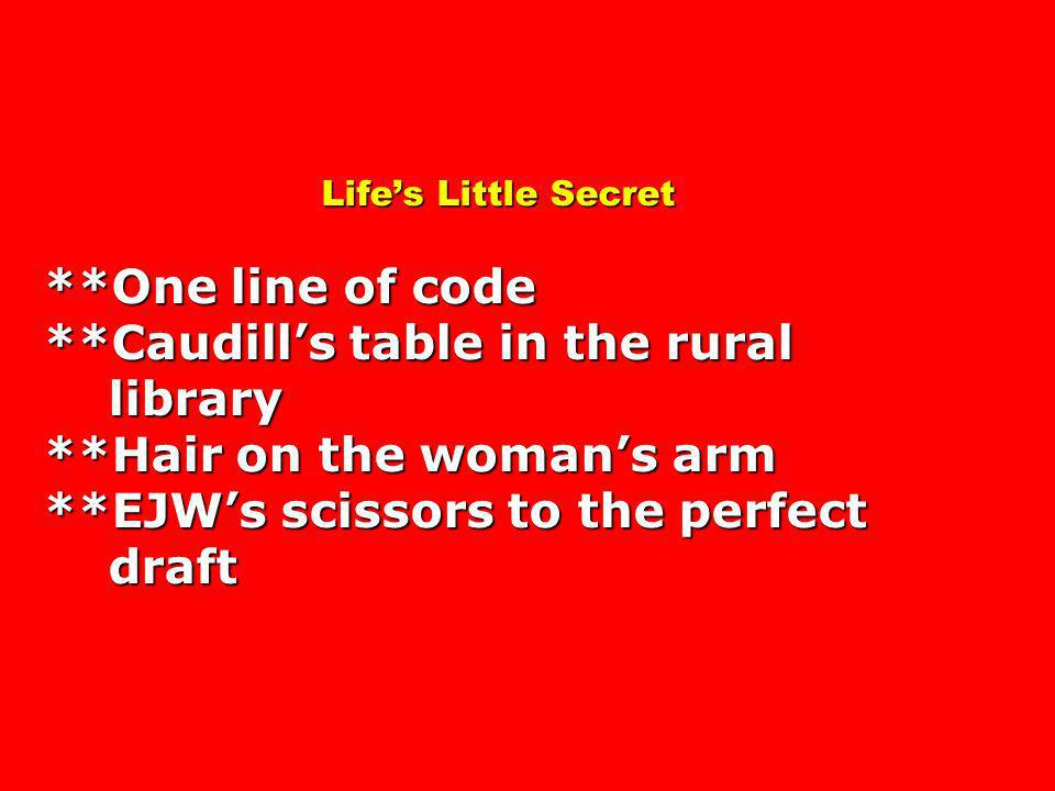 Lifes Little Secret **One line of code **Caudills table in the rural library **Hair on the womans arm **EJWs scissors to the perfect draft Lifes Little Secret **One line of code **Caudills table in the rural library **Hair on the womans arm **EJWs scissors to the perfect draft