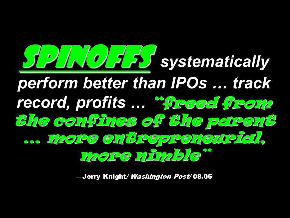 Spinoffs freed from the confines of the parent … more entrepreneurial, more nimble Spinoffs systematically perform better than IPOs … track record, profits … freed from the confines of the parent … more entrepreneurial, more nimbleJerry Knight/ Washington Post/ 08.05