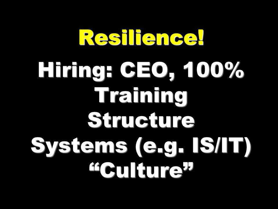 Resilience! Hiring: CEO, 100% Training Structure Systems (e.g. IS/IT) Culture