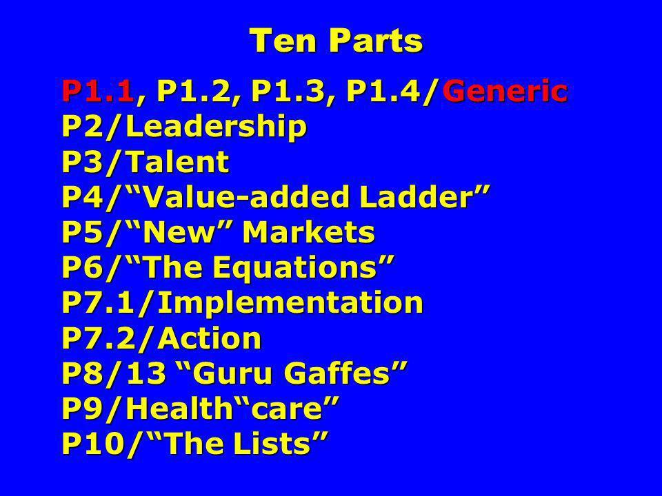 Ten Parts P1.1, P1.2, P1.3, P1.4/Generic P2/Leadership P3/Talent P4/Value-added Ladder P5/New Markets P6/The Equations P7.1/Implementation P7.2/Action