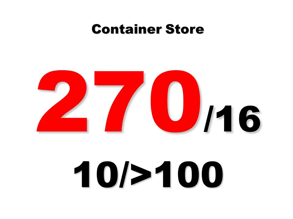 Container Store 270 /16 10/>100