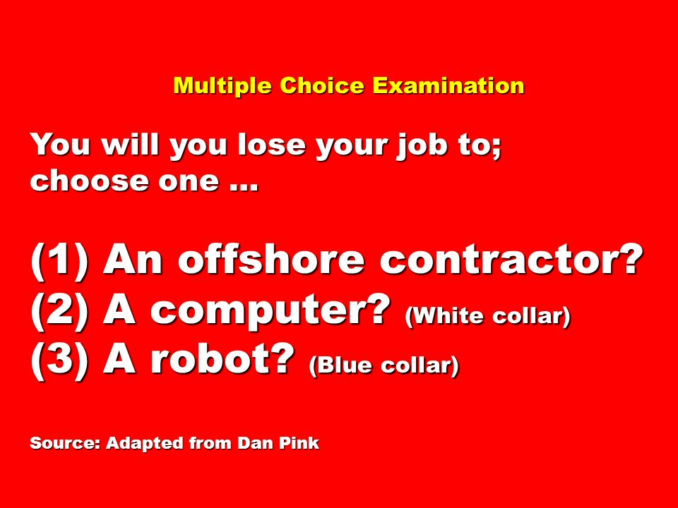 Multiple Choice Examination Multiple Choice Examination You will you lose your job to; choose one … (1) An offshore contractor? (2) A computer? (White