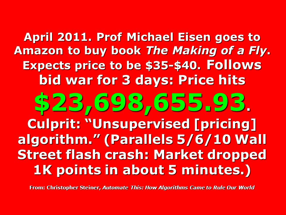 April 2011. Prof Michael Eisen goes to Amazon to buy book The Making of a Fly.