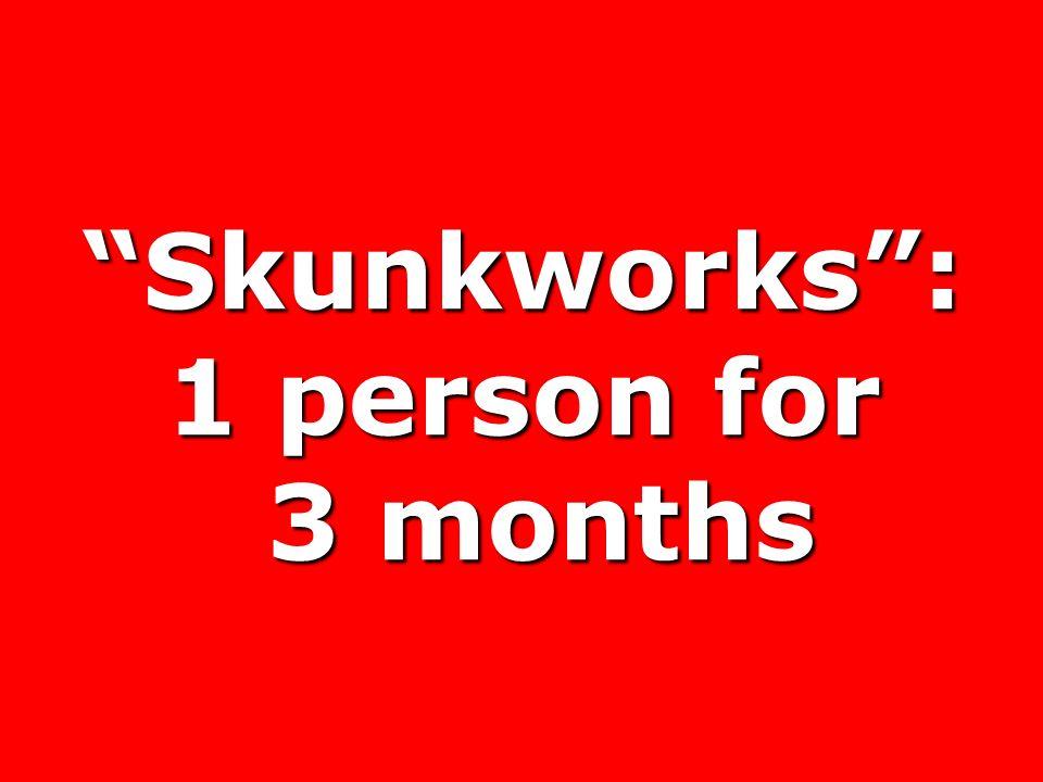 Skunkworks: 1 person for 3 months