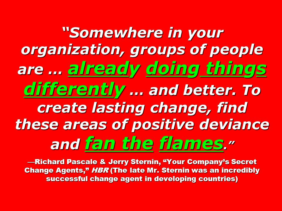 Somewhere in your organization, groups of people are … already doing things differently … and better. To create lasting change, find these areas of po