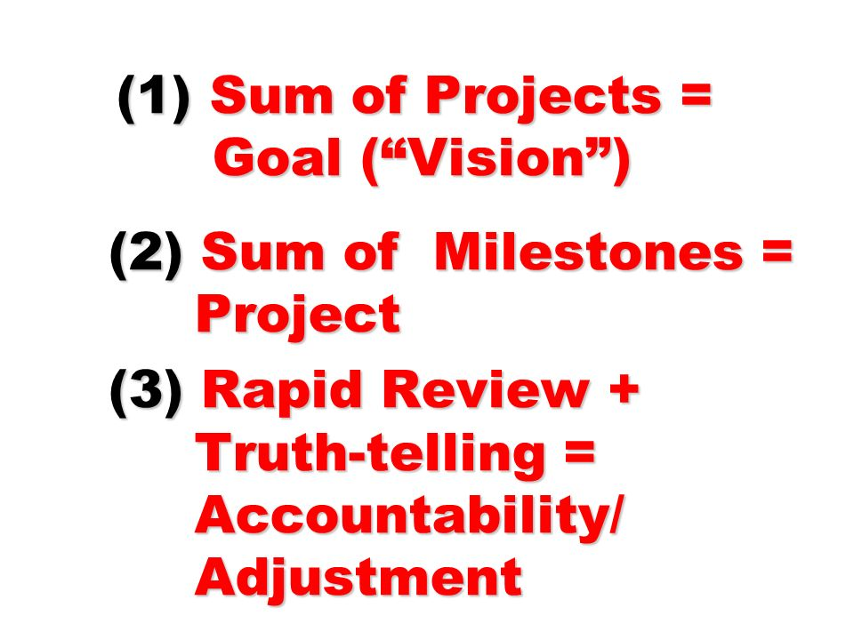 (1) Sum of Projects = Goal (Vision) (2) Sum of Milestones = Project (3) Rapid Review + Truth-telling = Accountability/ Adjustment (1) Sum of Projects