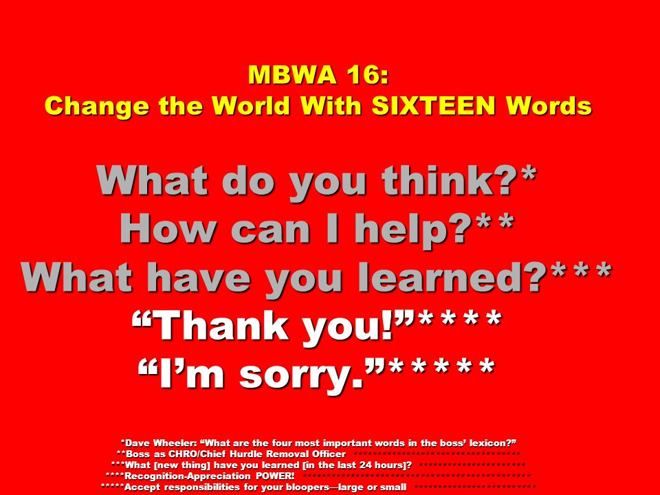 MBWA 16: Change the World With SIXTEEN Words What do you think?* How can I help?** What have you learned?*** Thank you!**** Im sorry.***** *Dave Wheel