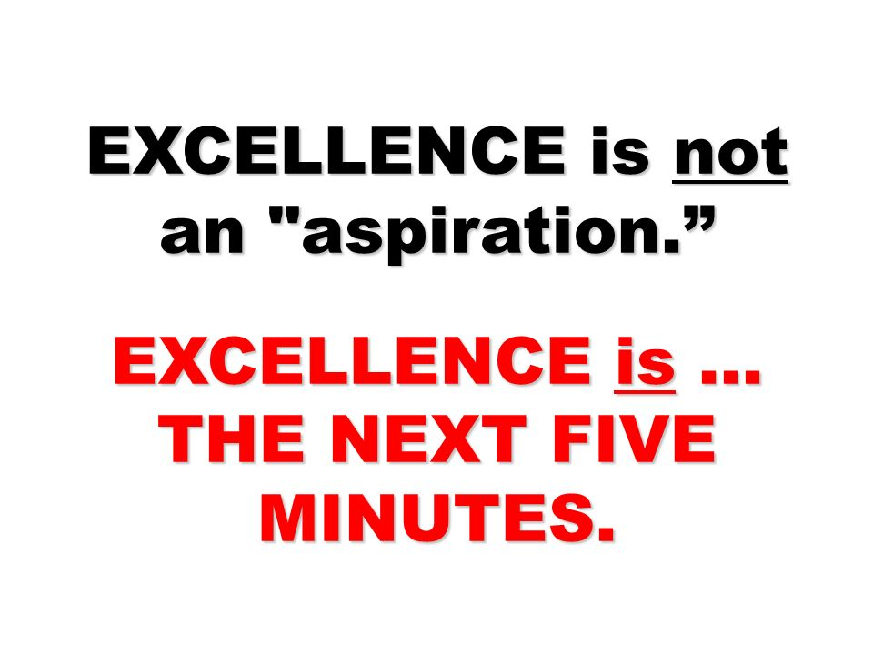 EXCELLENCE is not an