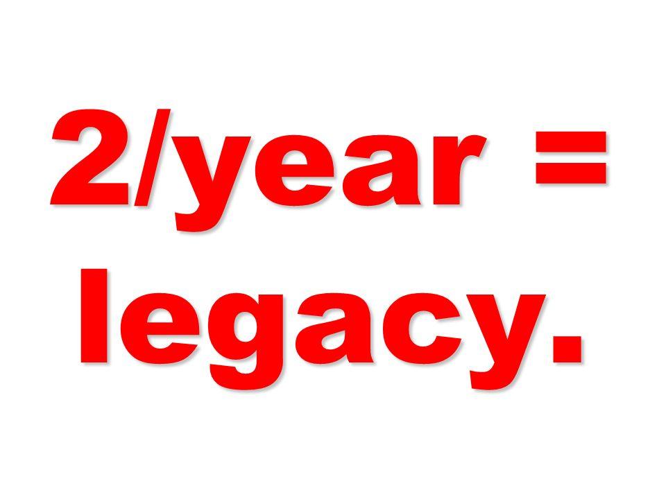 2/year = legacy.