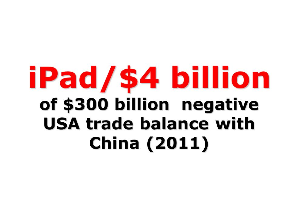 iPad/$4 billion of $300 billion negative USA trade balance with China (2011)