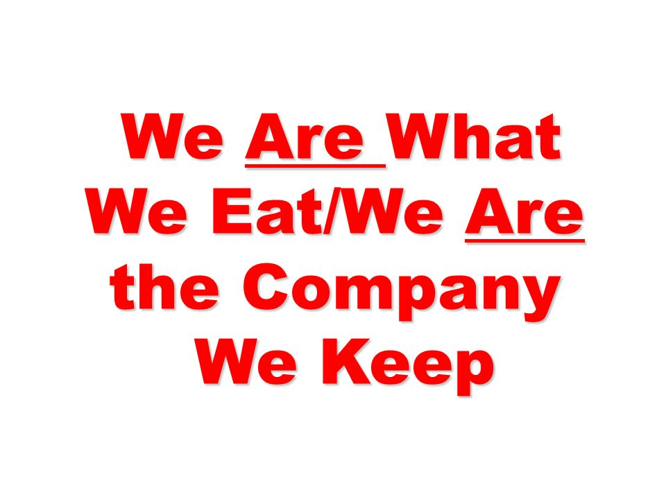 We Are What We Eat/We Are the Company We Are What We Eat/We Are the Company We Keep We Keep