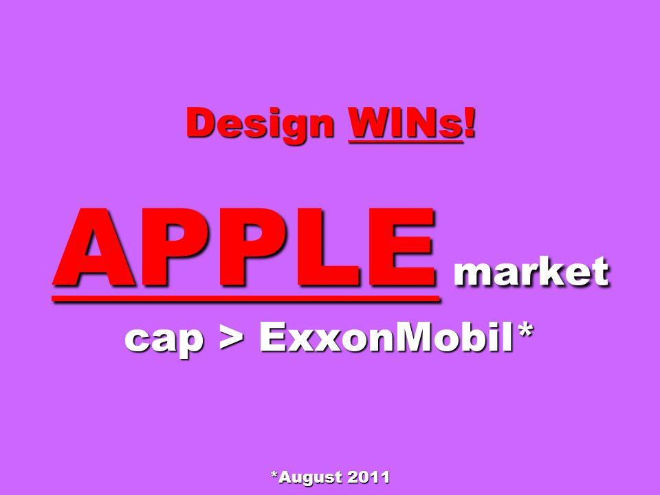 Design WINs! APPLE market cap > ExxonMobil* *August 2011